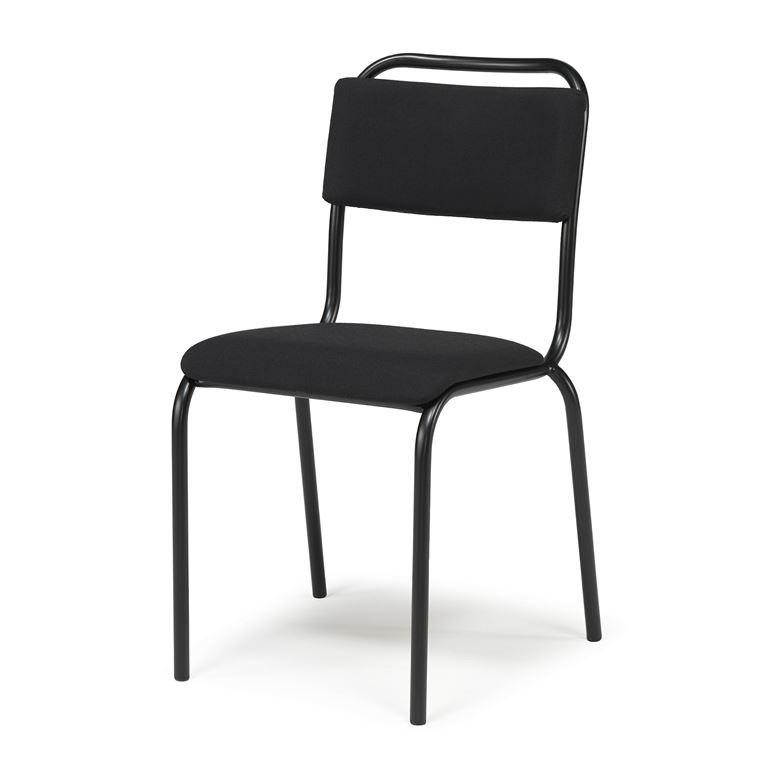 Krzesło bez podłokietników do jadalni, Kolor siedzika:Czarny, Stelaż Czarny