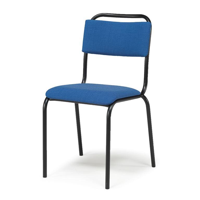 Krzesło bez podłokietników do jadalni, Kolor siedzika:Niebieski, Stelaż Cza