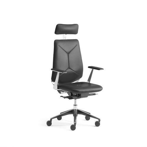 Czarne krzesło biurowe LONDON z zagłówkiem