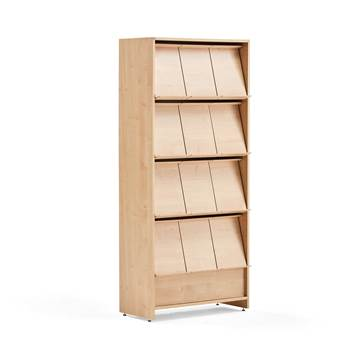 Magazine cabinet, 12 comps, 1820x800x390 mm, birch