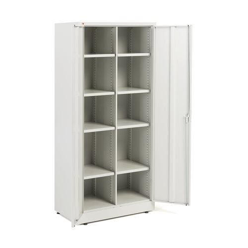 Storage cabinet: 8 adjustable shelves