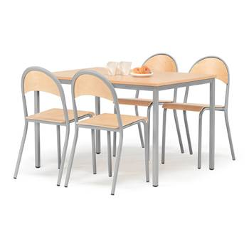 Pakkepris: 1 bord 1200x800 mm + 4 stoler, bøk/alugrå