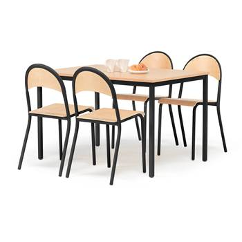 Small profil canteen group, 1 table + 4 chairs, beech, black