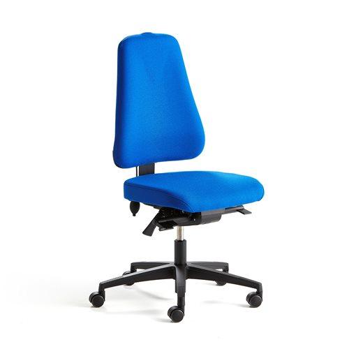 Krzesło biurowe BRIGHTON, niebieska tkanina, czarna podstawa