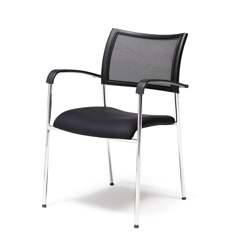 Krzesło konferencyjne z czarnej tkaniny