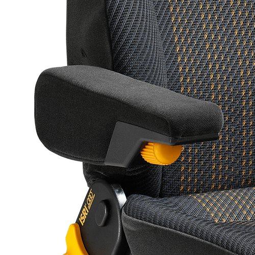 Angled armrest