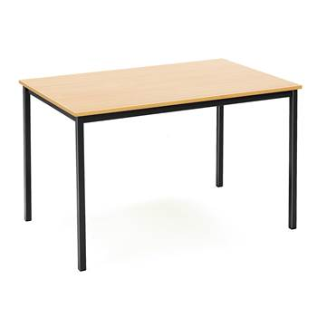 Canteen table, 1200x800x735 mm, beech laminate, black