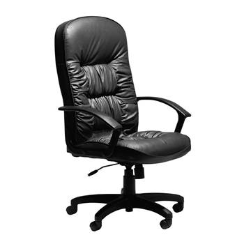 """King"" black leather office chair"