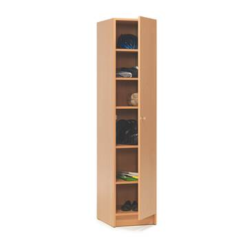 Wooden locker with shelves, 1850x400x530 mm, beech