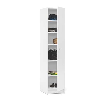 Wooden locker with shelves, 1850x400x530 mm, white