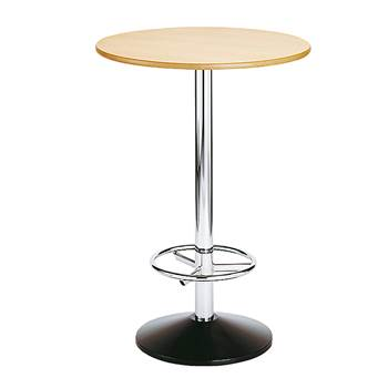 Beech bar table, single, Ø 800x1120 mm, chrome frame