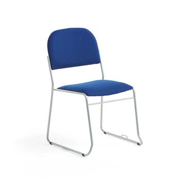 Linkable conference chair, blue fabric, alu grey