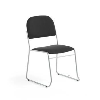 Konferansestol, stoff, svart/alugrå