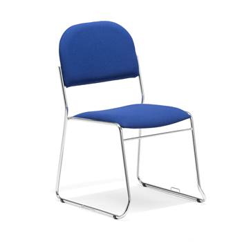 Linkable conference chair, blue fabric, chrome