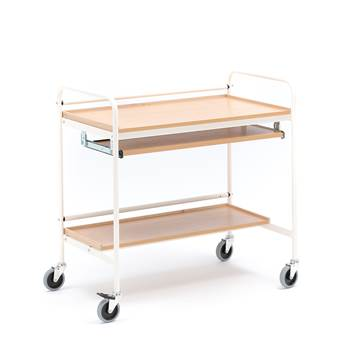 Computer trolley, beech, cream