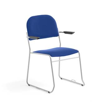 Linkable conference chair with armrests, blue fabric, alu grey