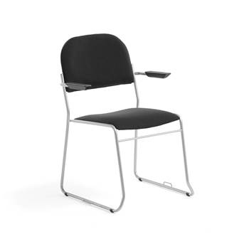 Linkable conference chair with armrests, black fabric, alu grey