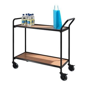 Table trolley: black : beech/walnut: 2 shelves