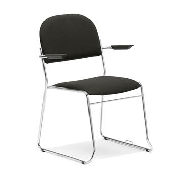 Linkable conference chair with armrests, black fabric, chrome