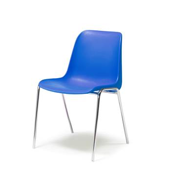 Plastic stacking chair, blue