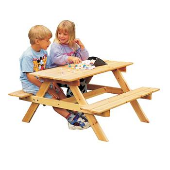 Children's picnic table: natural pine