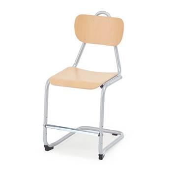 Krzesło Nabal, wysokość: 450 mm, buk, srebrny