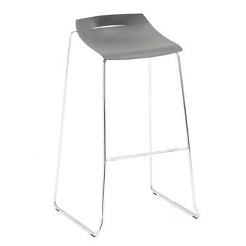 Bar stool, anthracite, chrome
