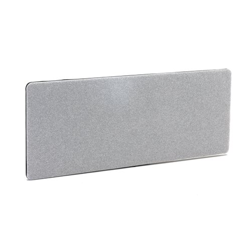 #en Desk screen, 1600x650 mm, light grey with black zipper