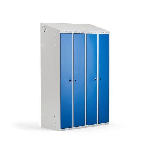 Pukukaappi, 300+300 mm, 2 osa, 4 ovea, 1900x1200x550, sininen