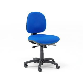 """Værkstedsstol """"Teknik"""" lav, blåt stof, med hjul"""