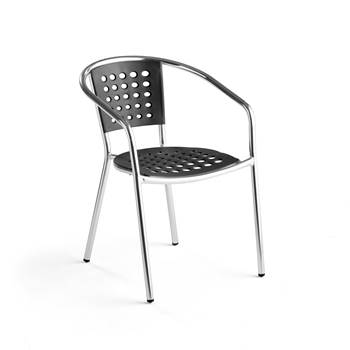 Stackable outdoor chair, aluminium, black