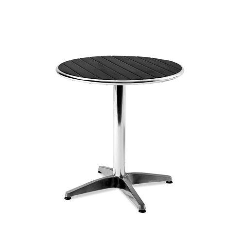 Okrągły stół kawiarniany z tworzywa sztucznego imitującego drewno + czarne