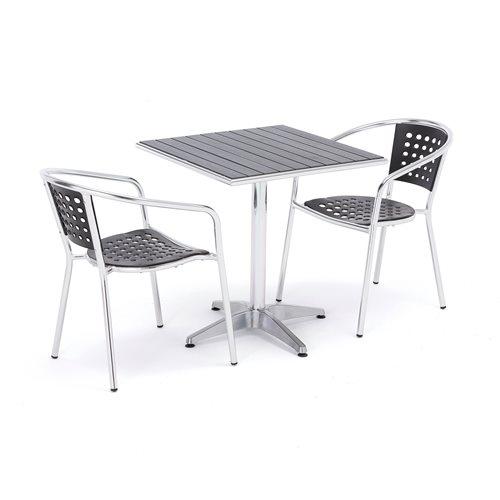Zestaw mebli zewnętrznych 2 krzesła + kwadratowy stół