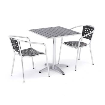 Package deal, square table + 2 black chairs