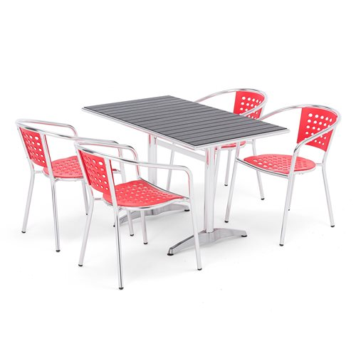 Package deal, rectangular table + 4 red chairs