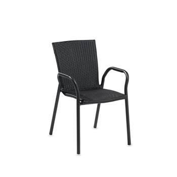 Stackable café chair, aluminium, black rattan