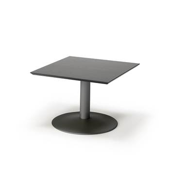 Sohvapöytä, 700x700 mm, korkeapainelaminaatti, musta pöytälevy, musta jalus