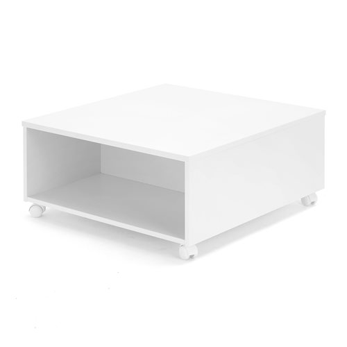 #en Coffee table  800x800x400 mm MDF white,  white wheels