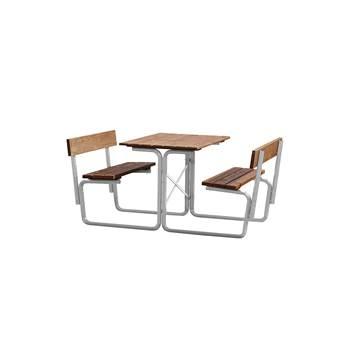 Kraftig utebord med faste benker, med rygg, 1000x1680 mm, galvanisert, brun