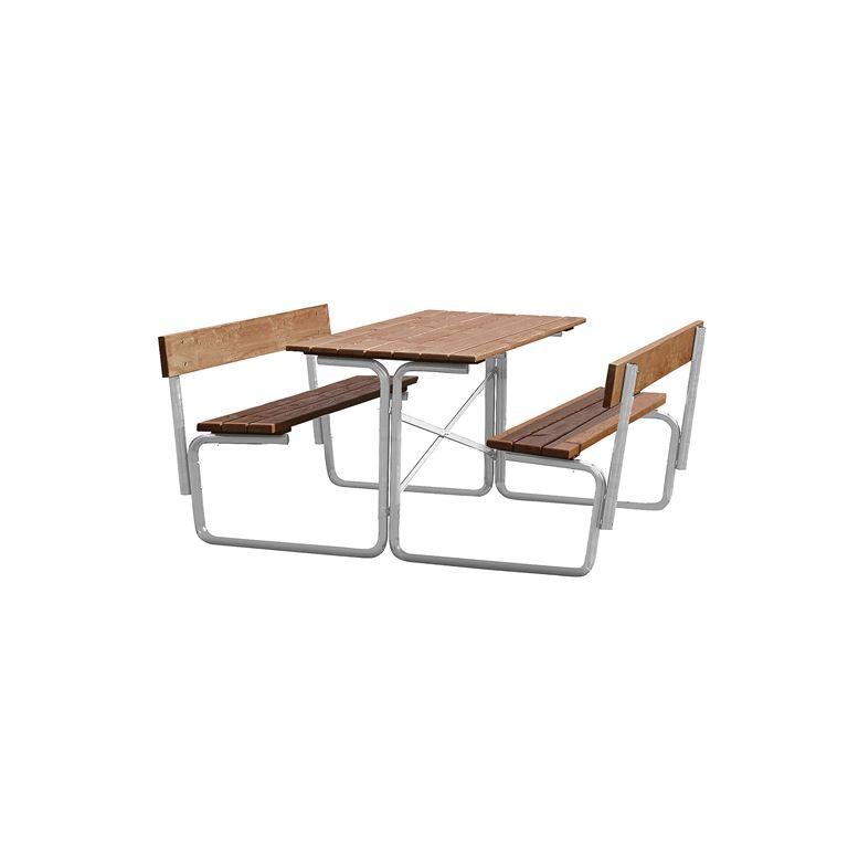 Kestävä pöytäpenkki selkänojalla, 1500x1680 mm, ruskea, galvanoitu