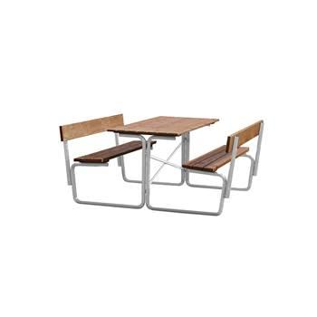 Kraftig utebord med faste benker, med rygg, 1500x1680 mm, galvanisert, brun