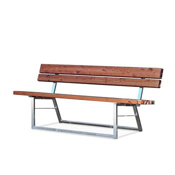 Park bench, with backrest, 450x1800x600 mm, pine, steel