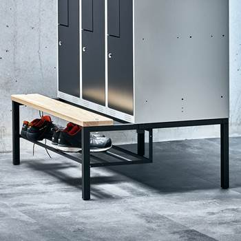 Bench frame + shoerack, 410x300x830 mm, pine, black