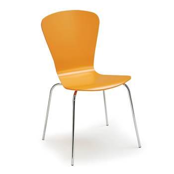 Krzesło z giętkiej sklejki, Kolor:, Pomarańczowy