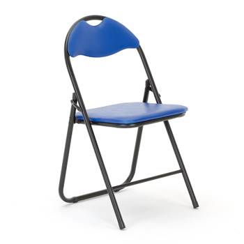 Folding chair, black frame, blue vinyl