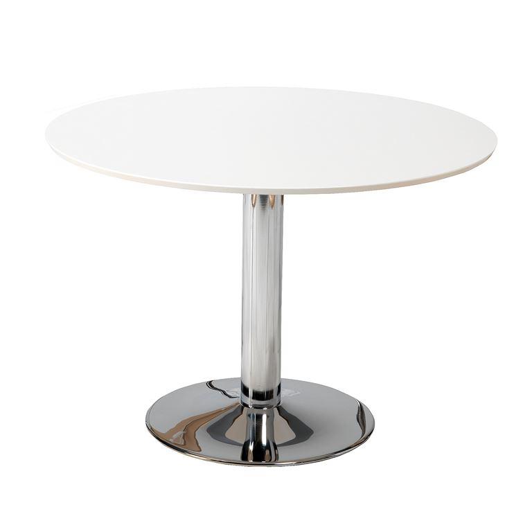 Pöytä, Ø1100 mm, valkoinen, kromi