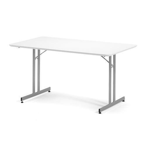 Ruokapöytä, kokoontaitettava, 1400x800 mm, valkoinen, harmaa