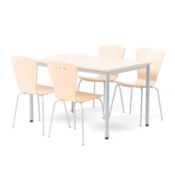 Lunchrumsgrupp: 1 bord, 1200x800 mm, 4 stolar, björk/alu