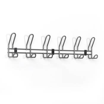 Wall mounted coat rail: 6 hooks