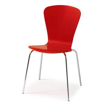 Krzesło z giętkiej sklejki, Kolor:, Czerwony